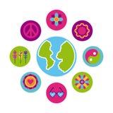 Icons set hippie scenery cartoon world map Royalty Free Stock Image