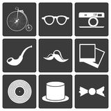 Icons with set hipster items Royalty Free Stock Image