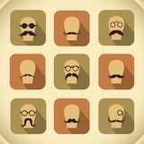 Icons set of hipster mustaches and glasses Stock Image