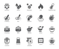 Icons set of household appliances, utensils and labels on culinary theme in flat style. Vector collection. Icons set of household appliances, utensils and labels Royalty Free Illustration