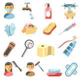 Icons set of hygiene and sanitary. Royalty Free Stock Photography