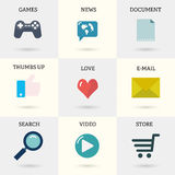 Icons set of internet instruments: document, mail, online shop, video, search, thumbs up, games, news in flat style with shadows.  vector illustration