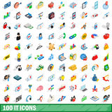 100 it icons set, isometric 3d style. 100 it icons set in isometric 3d style for any design vector illustration Stock Images