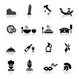 Icons set Italian Cuisine and culture. Simplified but well drawn Icons, smooth corners no hard edges unless it's required Stock Images