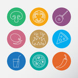 Icons set for Italian pizza. Stock Photos