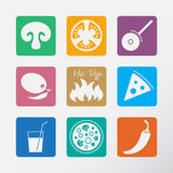 Icons set for Italian pizza. Royalty Free Stock Photography