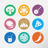 Icons set for Italian pizza. Royalty Free Stock Images