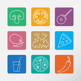 Icons set for Italian pizza. Stock Image