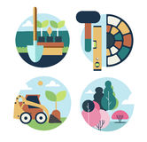 Icons set landscape design Stock Images