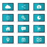 Icons set on laptop screen. Flat vector illustration. Icons set on blue laptop screen. Flat vector illustration Stock Photo