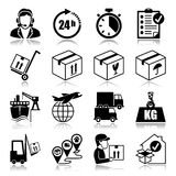 Icons set: Logistics. Icons set with reflection: Logistics Stock Photo