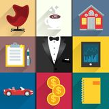 Icons set for luxery life with tuxedo stock illustration