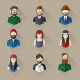 Icons Set of Male and Female Faces in Hipster theme, Vector illustration Stock Image