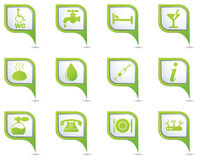 Icons set on map pointer Royalty Free Stock Images