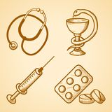 Icons set of medical items Royalty Free Stock Photography