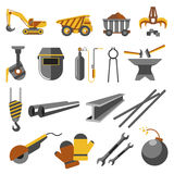 Icons set of metallurgy industry. Symbols of work plant: pipe, equipment and iron, truck for ore, steel casting, rail, helmet and factory. Vector flat Royalty Free Stock Images