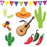 Icons set of Mexican symbols in flat design style. royalty free illustration