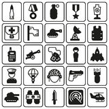 Icons set for military infographics, mobile game. Vector icons set for military infographics, mobile game on button background Royalty Free Stock Photo