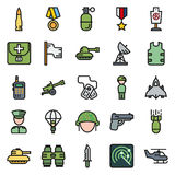 Icons set for military infographics, mobile game. Vector icons set for military infographics, mobile game on round background Vector Illustration