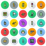 Icons set for military infographics, mobile game. Vector icons set for military infographics, mobile game on round background Stock Images