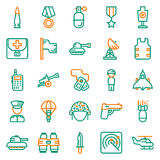 Icons set for military infographics, mobile game. Vector icons set for military infographics, mobile game on white background Royalty Free Stock Photo
