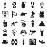 Icons set for military infographics, mobile game. Vector icons set for military infographics, mobile game on white background Royalty Free Illustration