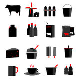 Icons set milk, dairy products, production Royalty Free Stock Image