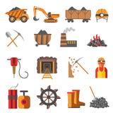 Icons set mining coal industry Stock Photo