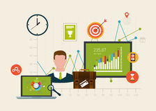 Icons set of modern business working elements Royalty Free Stock Photo