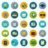Icons set. Set of modern icons in flat design with long shadows and trendy colors for web, mobile applications, business, social networks etc. Vector eps10 Stock Photo