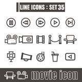 Icons set movie line black Modern Style design elements Geometry Royalty Free Stock Image