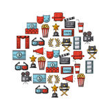 Icons set movies and cinema Royalty Free Stock Image