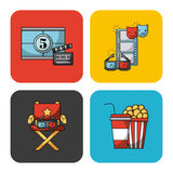 Icons set movies Stock Photography