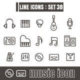 Icons set music line black Modern Style design elements Geometry. Icons music line black Modern Style design elements Geometry Straight lines curves on white Vector Illustration