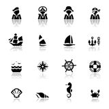 Icons set Nautical Stock Photo