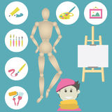 Icons Set Of Colorful Art Supplies For Painting Stock Image
