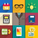 Icons set of office accessories Royalty Free Stock Photography