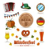 Icons set for Oktoberfest. Icons for Oktoberfest. Autumn motives. Beer festival. Set of colored vector icons isolated on white background Stock Image