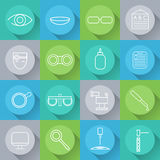 Icons set of ophthalmology and optometry in flat desi Stock Images