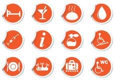Icons set on orange labels Royalty Free Stock Photography