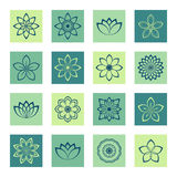 Icons set outline flowers on separate colored square backgrounds. Sixteen separate colored icons with flowers Royalty Free Stock Photos