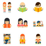 Icons set of people reading book in flat style Stock Images