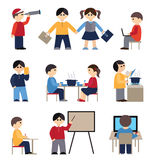 Icons set with people and students Royalty Free Stock Image