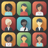 Icons Set of Persons Female Different Ethnic. Colorful App Icons Set of Persons Female Different Nationality in Trendy Flat Style with Gradients and Long Shadows Stock Image