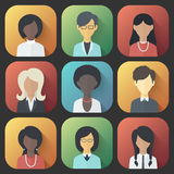 Icons Set of Persons Female Different Ethnic. Colorful App Icons Set of Persons Female Different Nationality in Trendy Flat Style with Gradients and Long Shadows Stock Images