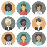 Icons Set of Persons Female Different Ethnic. Colorful Circle Icons Set of Persons Female Different Nationality in Trendy Flat Style Stock Photography