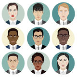 Icons Set of Persons Female Different Nationality in Trendy Flat Style vector illustration