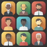 Icons Set of Persons Male Different Ethnic. Colorful App Icons Set of Persons Male Different Nationality in Trendy Flat Style with Gradients and Long Shadows Royalty Free Stock Photography