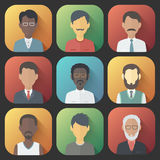 Icons Set of Persons Male Different Ethnic. Colorful App Icons Set of Persons Male Different Nationality in Trendy Flat Style with Gradients and Long Shadows Stock Photography