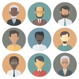 Icons Set of Persons Male Different Ethnic. Colorful Circle Icons Set of Persons Male Different Nationality in Trendy Flat Style Royalty Free Stock Photos